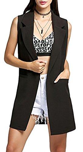 Women+Open+Lapel+Sleeveless+Slim+Waistcoat+Long+Suit+Vest+Duster+Blazer+Jacket+%28M%2C+Black%29