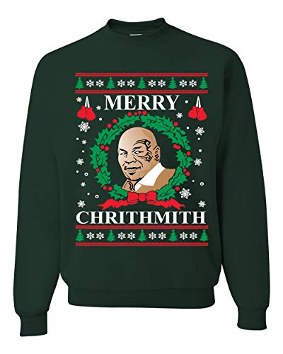 Wild Bobby Merry Chrithmith Mike Tyson | Unisex Ugly Christmas Crewneck Graphic Sweatshirt, Forest Green, X-Large