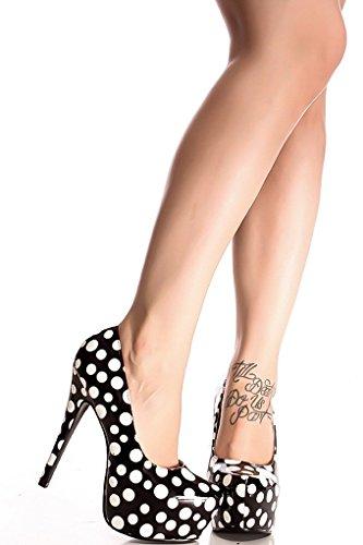 Lolli Couture Diamante Glitter Accento Piattaforma A Punta Smussata Tacchi Alti Blackwhitepolka-lulli-5