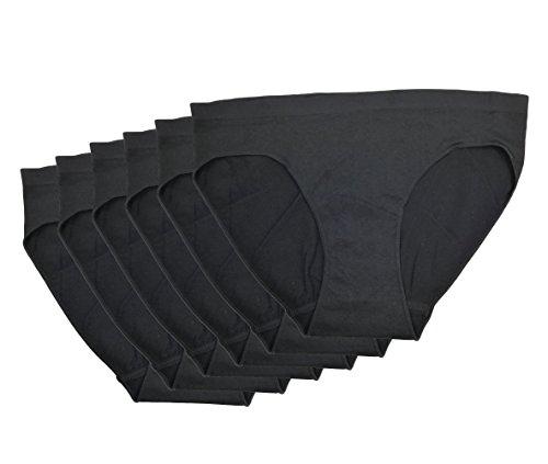 WS Women's Seamless Classy Stretchy Basic Bikini Panties, Multi-Pack of 6 (SassyBlack-6pk)