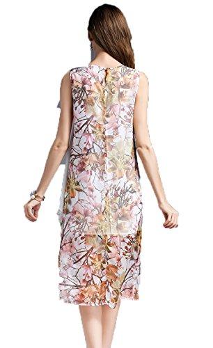 Sans Manches Imprimés Yali De La Xxl Soie Robe Photo Couture Couleur aAxWTT5q