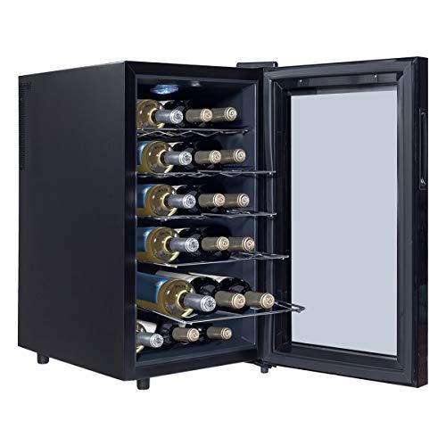LHONE Mini Wine Cooler Fridge Freestanding Refrigerator Chiller Counter Top Wine Cellar with Digital Temperature Display Quiet Operation Fridge Black (18 Bottle) by LHONE (Image #1)