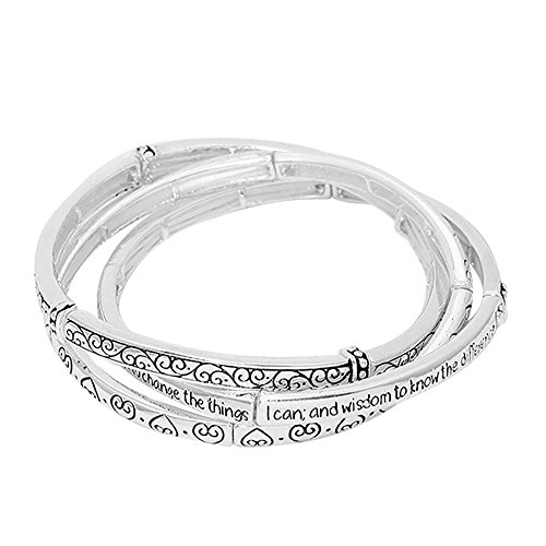 Lola Bella Gifts 3 Piece Layered Serenity Prayer Bracelet with Gift Box