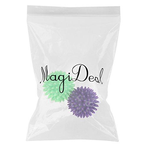 MagiDeal 2pcs Spikey Boule de Massage des Pieds - Massage Ball pour Soulager la Tension, Relaxe les Muscles - Point Acupuncture à Masser Dos Mains Pieds Bras Jambes Anti-stress - Violet Clair Vert