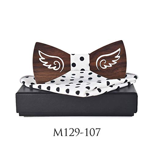 Special Angel's Wings Solid Pocket Square Bow Tie There Are Angels Wing Wooden Ties For Men 129107