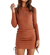 OWIN Women's Long Sleeve Ribbed Knit Casual Bodycon Mini Dress Ruched Drawstring Fall Pullover Sw...