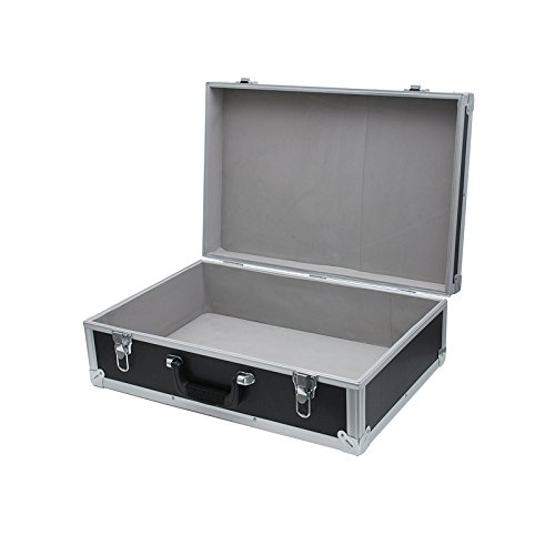 SRA Cases EN-AC-FG-BC47 Black Aluminum Hard Case Box, 22.4x15x7.5 - Case Hard Large