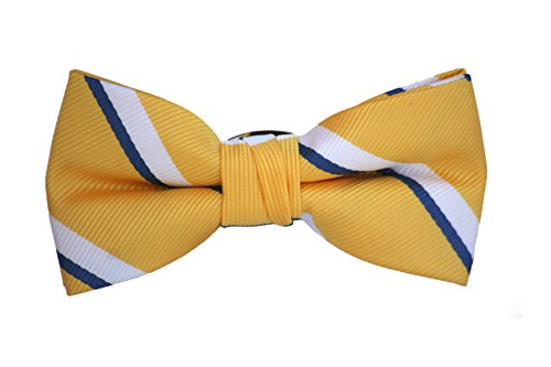Born to Love - Boys Kids Pre Tied Adjustable Bowtie Easter Holiday Party Dress Up 4 Inches Navy Yellow White Stripe Polyester