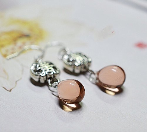 Original Tibet Silver Transfer Beads Earring Czech Glass Sterling Silver Ear Hook Accessories (honey pink)