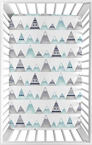 Sweet Jojo Designs Navy Blue, Aqua and Grey Aztec Baby Boy or Girl Unisex Fitted Mini Portable Crib Sheet for Mountains Collection - for Mini Crib or Pack and Play ONLY