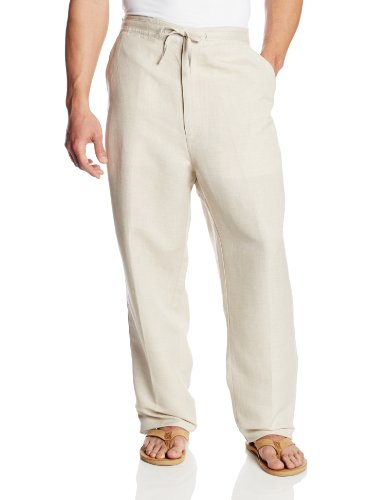 Drawstring Pant with Back Elastic Waistband, Natural Linen, 4X-Large x 32L (Big) -