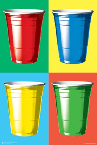 Colorful Party Cups High-Quality Poster