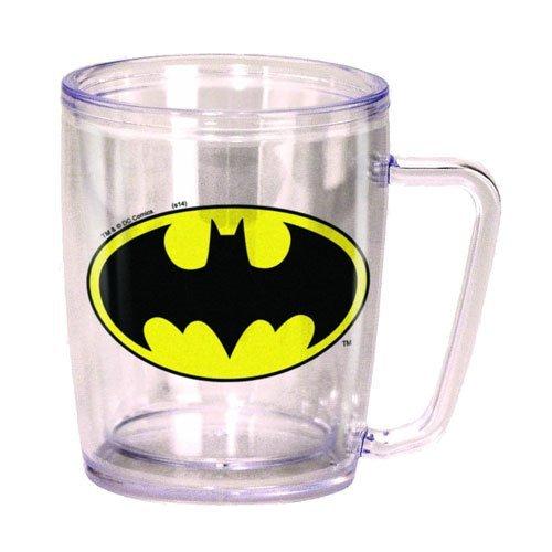 Spoontiques Batman Logo Acrylic Coffee Cup, Clear
