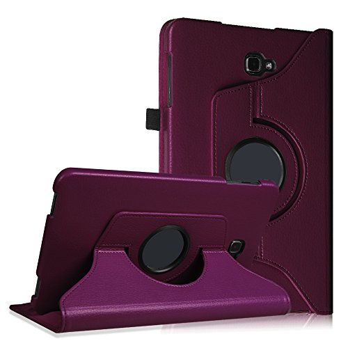 Fintie Rotating Case for Samsung Galaxy Tab A 10.1 - Premium PU Leather 360 Degree Swivel Stand Cover with Auto Sleep/Wake for Galaxy Tab A 10.1 Inch (NO S Pen Version SM-T580/T585/T587) Tablet,Purple