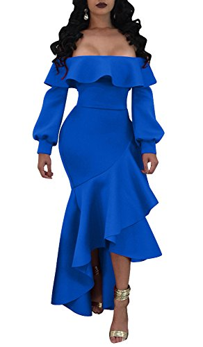 Remelon Womens Sexy Off Shoulder Puff Long Sleeve Ruffle Split High Low Irregular Bodycon Long Maxi Dress Blue M (Puff Shoulder Dress)