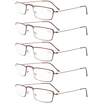 f17e8337314 Eyekepper 5-Pack Stainless Steel Frame Half-eye Style Reading Glasses  Readers Brown +