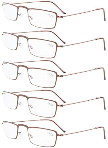 05bbce04bdc Eyekepper 5-Pack Stainless Steel Frame Half-eye Style Reading Glasses  0.5-4.0