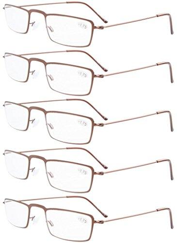 acier lecture Marron lunettes demi de 5 Lot en cadres nbsp;paires 5 de lune inoxydable Eyekepper de Pieces avec wOp0qxwX