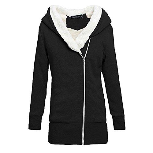 Eault Elegant 2016 Autumn Winter Women Hoodies Warm Fleece Cotton Coats Zip Up Outerwear Hooded Sweatshirts Casual Long Jackets Plus Size ThickBlackXXXL Novelty