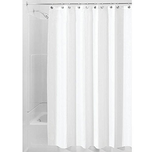 iDesign Fabric Shower, Modern Mildew-Resistant Bath Curtain Liner for Master, Kid's, Guest Bathroom, Extra Wide, White