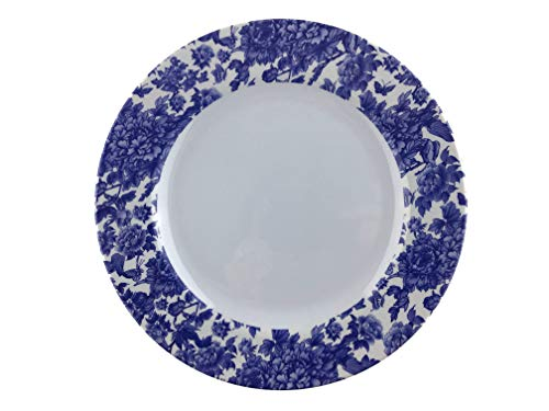 """Melamine dinnerware, Round Plate set of 4, ARC USA, 100% Melamine, FDA Safe, Elegant, Heavy Duty, 9"""" Round Plate Great for Shatter-Proof and Chip-Resistant Salad Plates (White with blue floral design)"""