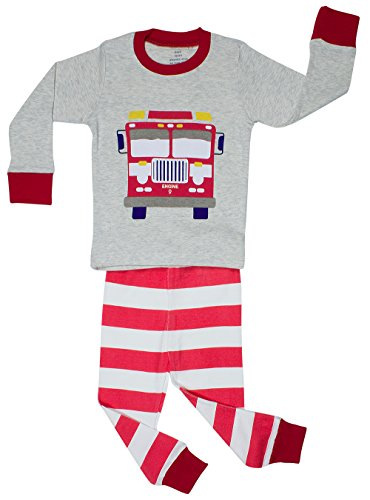 "UPC 603185863264, Elowel Little Boys ""Fire Truck"" 2 Piece Pajama Set 100% Cotton - Size 8"
