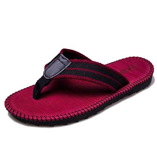SANLION Men's Comfortable Flip-Flops Thongs Sandals Beach Slippers (9.5 D(M) US/43 EU, Red)