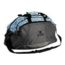 GILBERT Sac de sport en nylon, noir et bleu, imprimé floral, grand compartiment principal, une poche pour chaussures ou affaires mouillées, 27 x 27 x 20 cm.