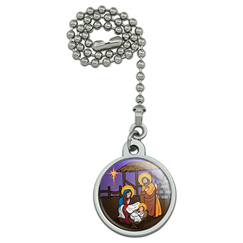Graphics and More Nativity Scene Baby Jesus Mary Joseph Christmas Christian Bible Ceiling Fan and Light Pull Chain