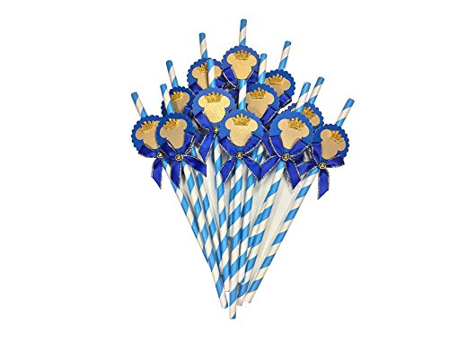 12 Deluxe Mickey Mouse Royal Blue White Paper Straws Gold Crown (Special Baby Shower, Brithday Any Special Occasion!) (popotes de Mickey Mouse) -