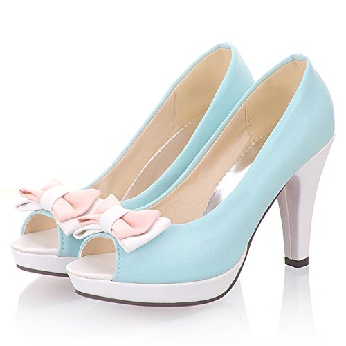 Platform Blue High TAOFFEN Peep With Heel Elegant Shoes Toe Pumps Bowknot Women Sandals xII7q1ZO