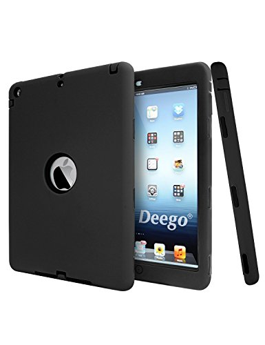 iPad Air Case, vogue Shop [Shockproof] Rugged Hybrid Protection Bumper Cover for Apple iPad Air 1 (iPad 5) 2013 Model for kids-Black