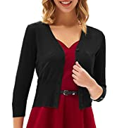 GRACE KARIN Women's Cropped Cardigan 3/4 Sleeve V-Neck Button Down Open Front Ribbed Knit Shrug S...