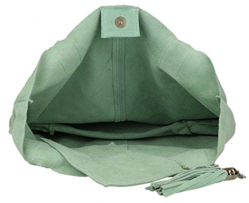 Mint Shoulder Top Girly Suede Italian Open Bag Real HandBags w1xHZRfq