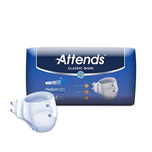 Attends Incontinence Care Breathable Briefs for Adults, Medium, 24 Count (Pack of 4)