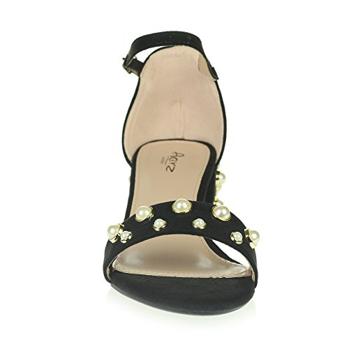 AARZ LONDON Womens Ladies Evening Party Prom Casual Comfort Pearl Beaded Medium Block Heel Ankle Strap Sandals Shoes Black. m3pHrEY
