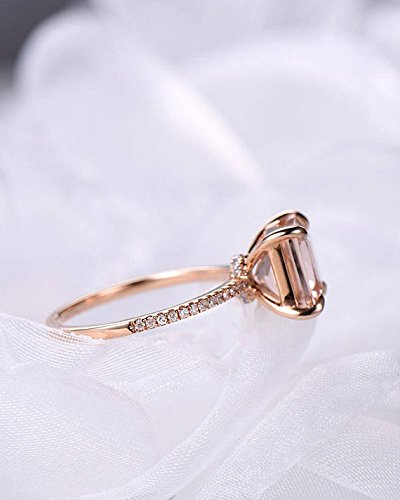 Morganite Engagement Ring Princess Cut Rose Gold 925 Sterling Silver CZ Thin Band Solitaire Ring Eternity by Milejewel Morganite Engagement Ring (Image #3)