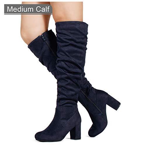 RF ROOM OF FASHION Women's Medium Calf Chunky Heel Slouchy Knee High Dress Boots Navy SU (7) ()