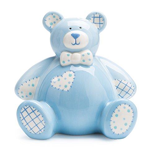 Baby Bear Savings Bank - FORLONG Bear Ceramic Piggy Bank Coin Bank Money Box for Boys Blue
