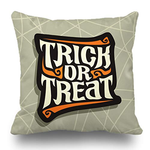 Batmerry Halloween Pillow Covers 18x18 inch, Halloween Trick Font Quote Treat Gray Abstract Hand Lettering Throw Pillows Covers Sofa Cushion Cover -