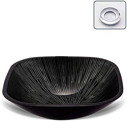 洗面ボール トイレシンクの上カウンター洗面化粧台カウンターシンクボウルバスルームシンク現代洗面所の強化ガラスシンクセットブラック 洗面ボール・洗面器 (色 : Black, Size : C1)