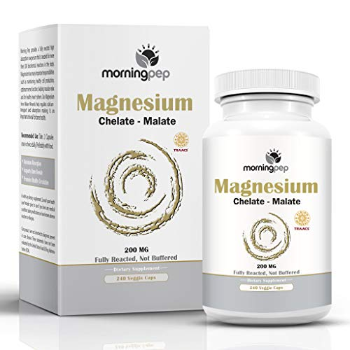Mg Vegetarian Caps 100 (Magnesium Bisglycinate Chelate 240 Vegi Caps 200mg Elemental per Serving, Our Fully reacted (TRAACS) Albion Magnesium Has The Highest Level of Absorption, Helps Function Muscles Bones and The Heart)