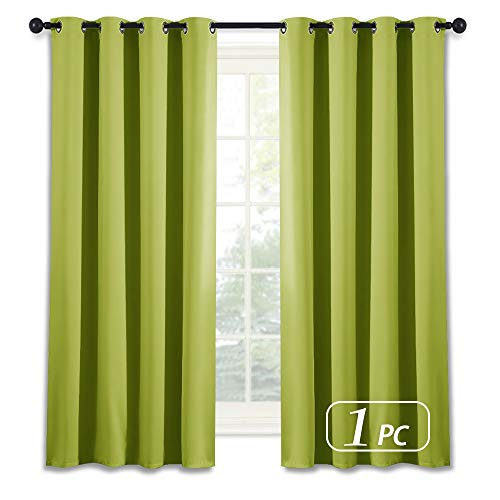 NICETOWN Blackout Curtain Window Panel Drape - (Green Color) Thermal Insulated Window Covering Room Darkening Grommet Top Drapery for Living Room, 52Wx63L, 1 Piece (Curtains Lime Drapes Green)