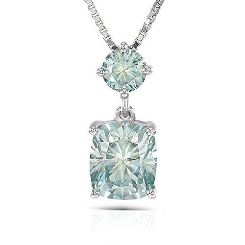 DovEggs Platinum Plated Silver Center 1.5ct 6X7mm Cushion Cut Blue Tinted Moissanite Pendant Necklace with Accent for Women