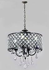 Diamond Life Antique Black 4-light Round Crystal Chandelier Pendant Ceiling Fixture