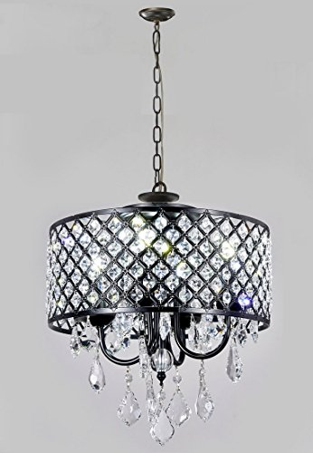 Review New Galaxy 4-Light Antique Black Round Metal Shade Crystal Chandelier Pendant Hanging Ceiling Fixture