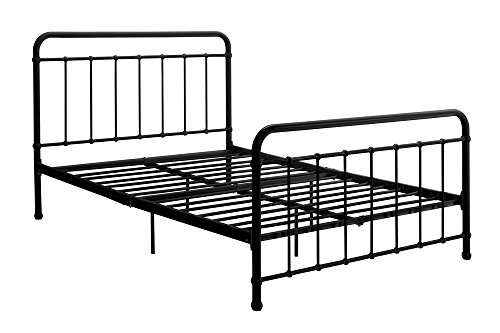 "Full Height - DHP Brooklyn Metal Iron Bed w/Headboard and Footboard, Adjustable height (7"" or 11"" clearance for storage), Sturdy Slats Included, No Box Spring Required, Full Size Mattress, Black"