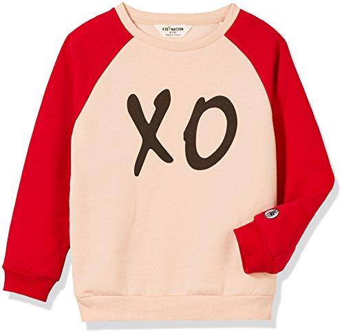 Kid Nation Kid's Graphic Raglan Fleece Sweatshirt for Boys or Girls XL Shell Pink/Red/Black (Fleece Raglan Sweatshirt)