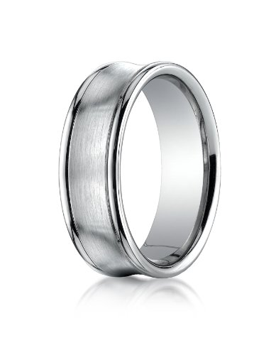 Platinum 7.5mm Comfort-Fit Satin-Finished Concave Round Edge Carved Design Wedding Band Ring for Men & Women Size 4 to 15