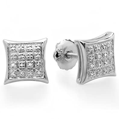 0.15 Carat ctw Real Diamond Dome Kite Shape Mens Ladies Hip Hop Iced 9 mm Stud Earrings